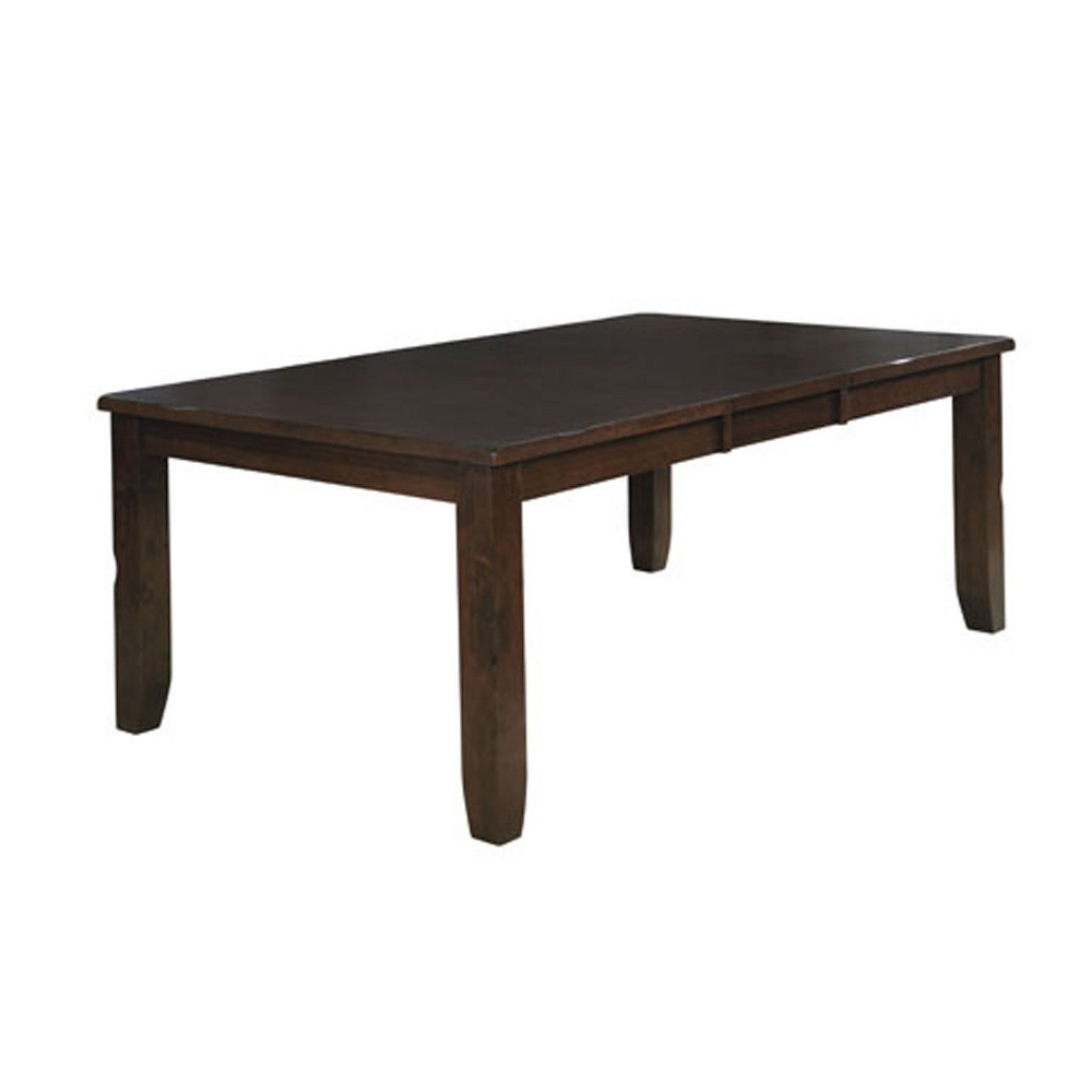 Neal contemporary Rectangular Glass Top Dining Table Brown Cherry - Mibasics