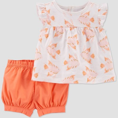 Baby Girls' Angel Fish Top & Bottom Set - Just One You® made by carter's White/Pink/Coral 12M