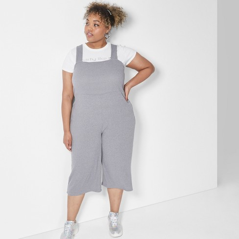 49fbcc7f780 Women s Plus Size Strappy Square Neck Rib Knit Jumpsuit - Wild Fable™ Gray