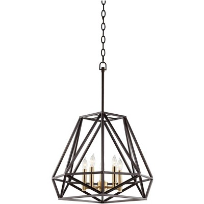 """Franklin Iron Works Bronze Geometric Cage Pendant Chandelier 20"""" Wide Industrial 5-Light Fixture Dining Room House Foyer Kitchen"""