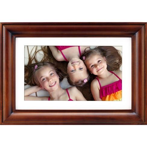 Polaroid 10 Digital Photo Frame Warm Cinnamon Wood Frame With Mat