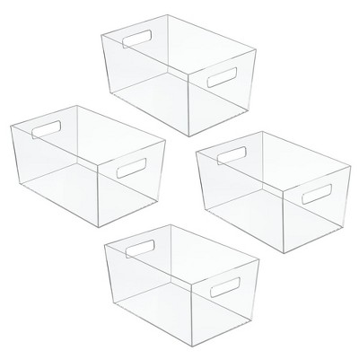mDesign Plastic Kitchen Pantry Food Storage Bin with Handles, 4 Pack - Clear