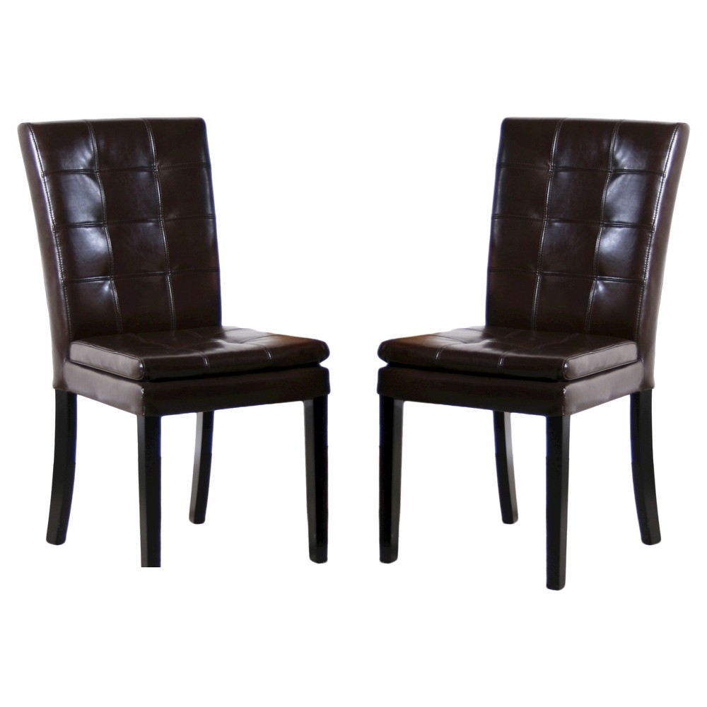 Phenomenal Crayton Leather Dining Chair Chocolate Brown Set Of 2 Spiritservingveterans Wood Chair Design Ideas Spiritservingveteransorg