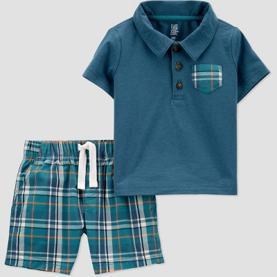 Baby Boys' 2pc Plaid Top & Bottom Set - Just One You® made by carter's Blue 3M