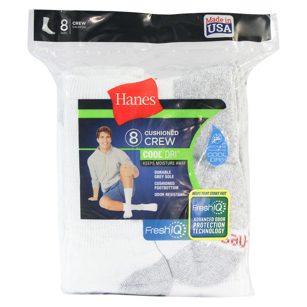 Image of Men's Hanes 8pk Crew Socks With FreshIQTM - White, Size: Small