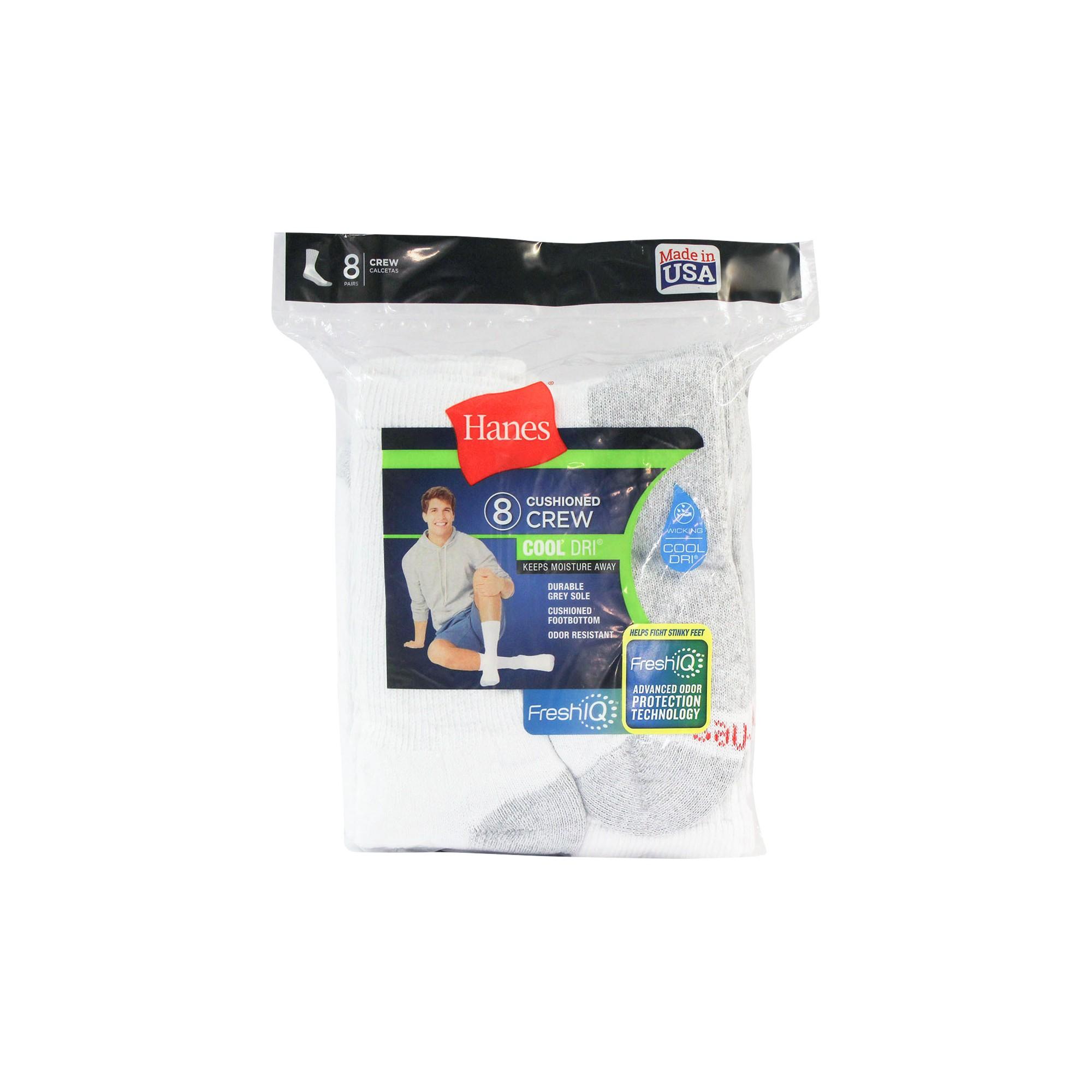 Men's Hanes 8pk Crew Socks With FreshIQTM - White, Size: Small