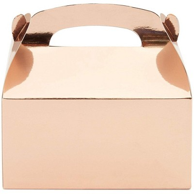 """Juvale Party Treat Boxes - 24-Pack Rose Gold Foil Gable Gift Boxes for Party Favors, Small Goodie Candy Boxes for Wedding, Birthday, 6.2 x 3.6 x 3.4"""""""