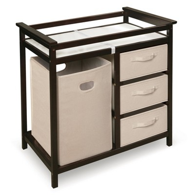 Badger Basket Modern Changing Table with Hamper - Espresso