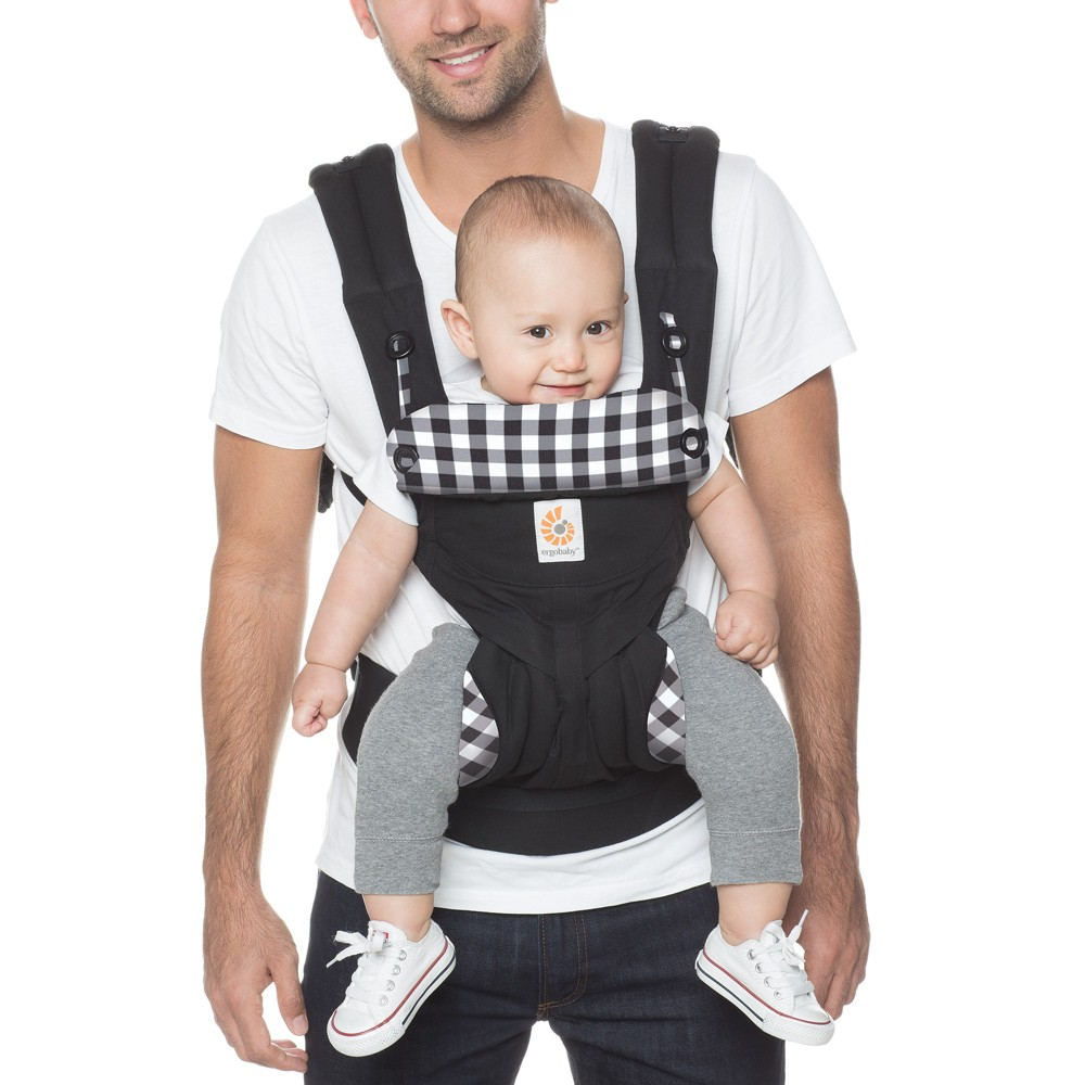 Image of Ergobaby 360 All Carry Positions Ergonomic Baby Carrier – Gingham Noir, Black