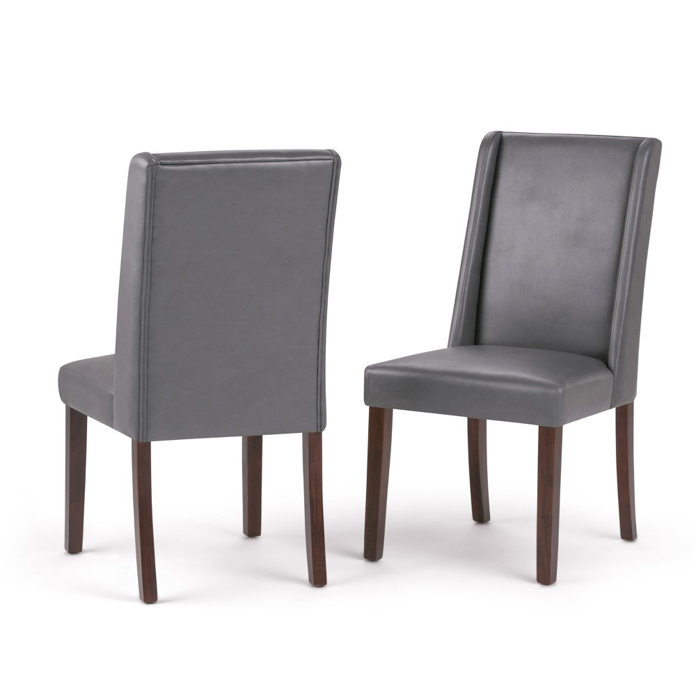 Sedona Deluxe Dining Chair Set of 2 Stone Gray Faux Leather - Wyndenhall