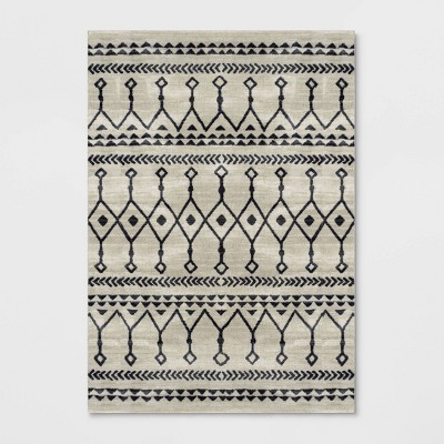 7'x10' Moroccan Geometric Rug Black/White - Opalhouse™