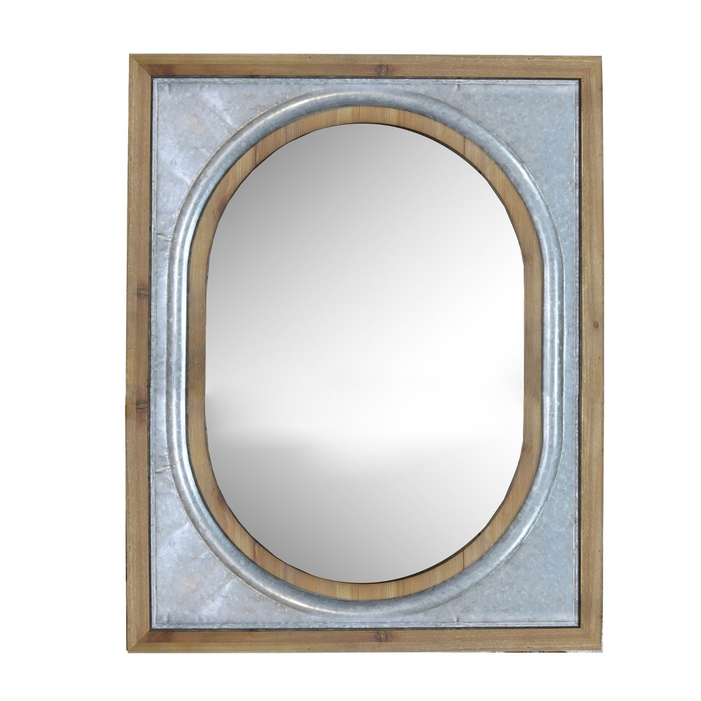 Metal And Wood Mirror Decorative Wall Mirror Light Gray 38