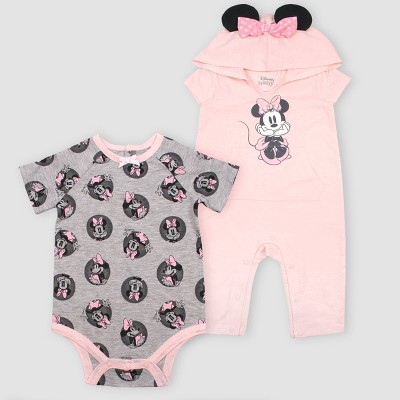 Baby Girls' Disney Minnie Mouse 2pk Romper - Light Pink 3M