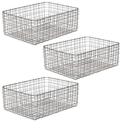 mDesign Metal Wire Food Organizer Storage Bins, 3 Pack