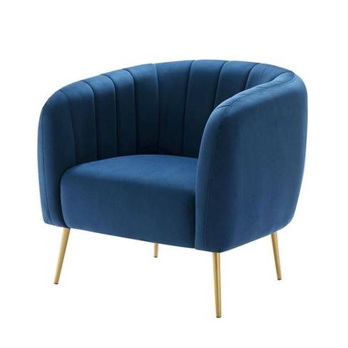 Accent Chair Navy Blue Velvet