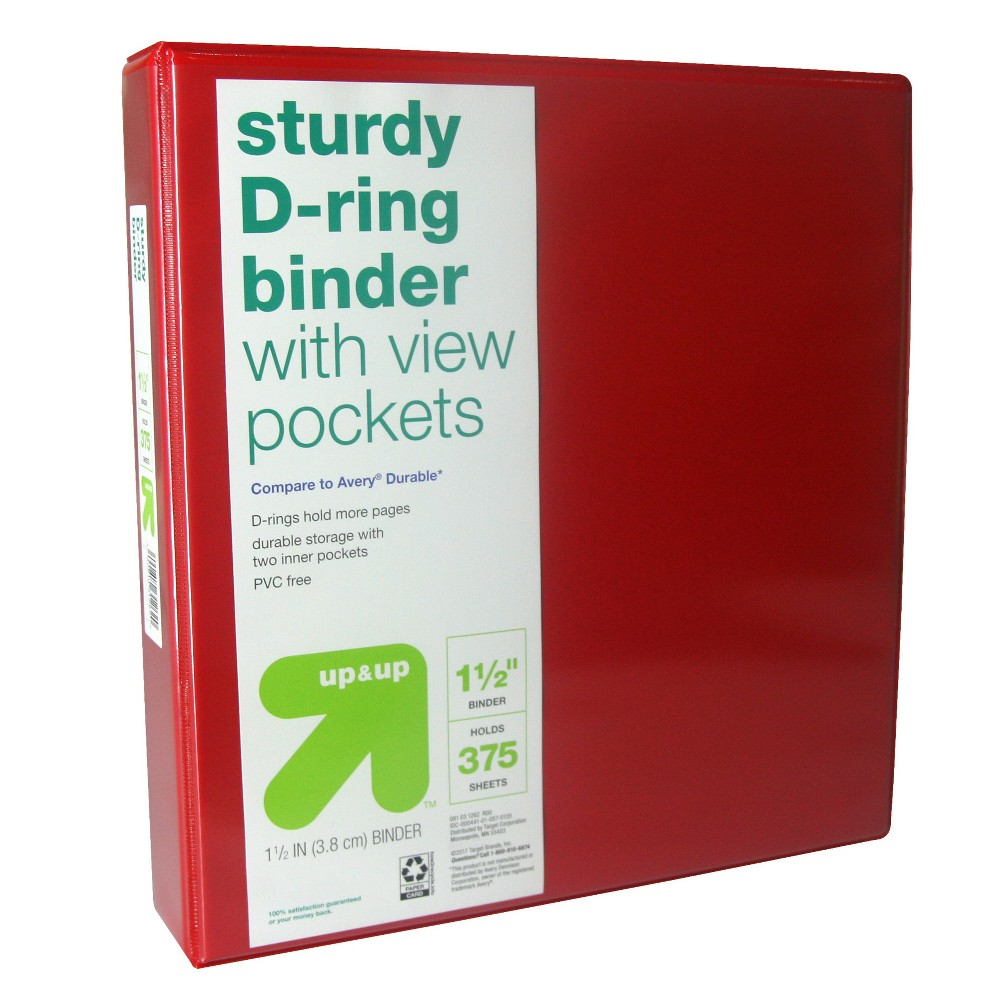 "Image of ""1.5"""" 3 Ring Binder Clear View Red - Up&Up"""