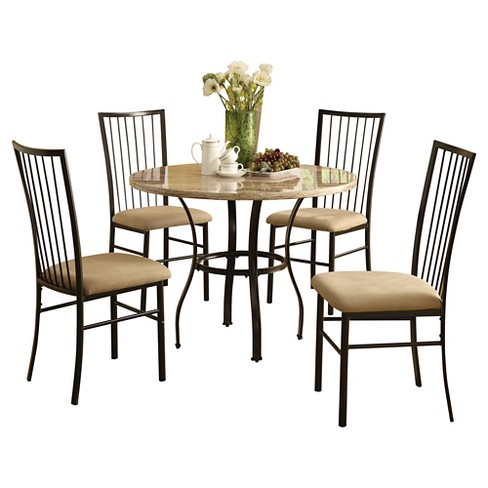Darell 5Pc Pack Dining Set - Faux Marble and Black - Acme - image 1 of 2