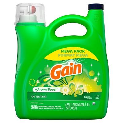 Gain + Aroma Boost Original Scent HE Compatible Liquid Laundry Detergent - 154 fl oz