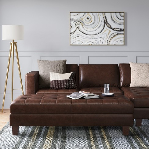 Edgemere Sectional Sofa And Large Ottoman Faux Leather Brown Project 62 Target