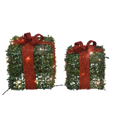 """Productworks 10"""" And 13"""", Set Of Two Presents, With 45 Lights Knock Down"""