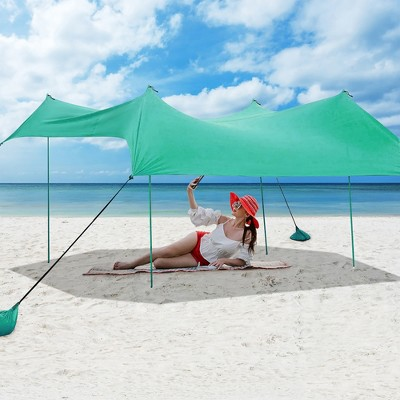 Costway Family Beach Tent Canopy w/ 4 Poles Sandbag Anchors 10'x9' UPF50+ Green