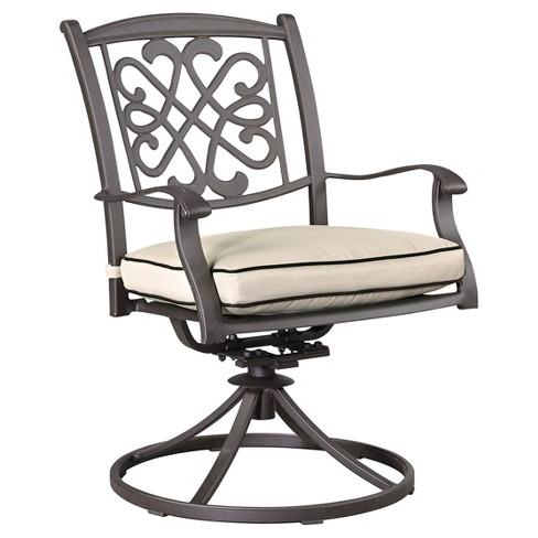 Burnella 2pk Metal Patio Swivel Accent Chairs - Beige/Brown  - Outdoor by Ashley - image 1 of 2
