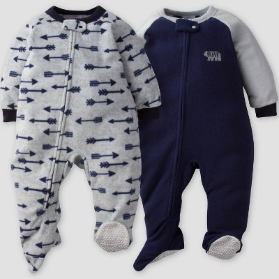 Gerber® Baby Boys' 2pk Arrows Micro Fleece Blanket Sleeper - Blue/Gray 12M