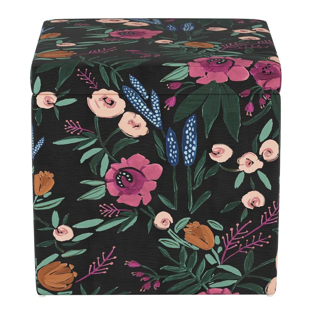 Plano Storage Ottoman Dark Floral Print - Project 62