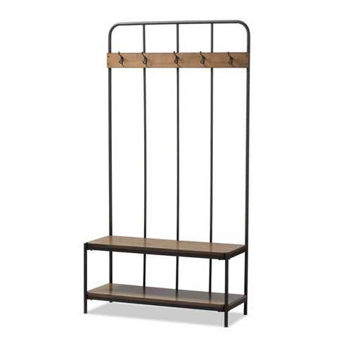 Hull Rustic Industrial Style Antique Metal and Wood Entryway Hall Tree - Black - Baxton Studio - image 1 of 4