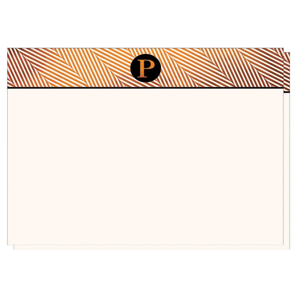 Herringbone Notecards Monogram P - 12ct, White