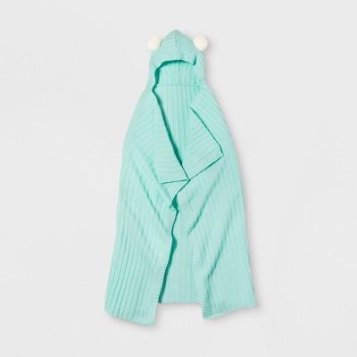 Hooded Knit Blanket Green - Pillowfort™
