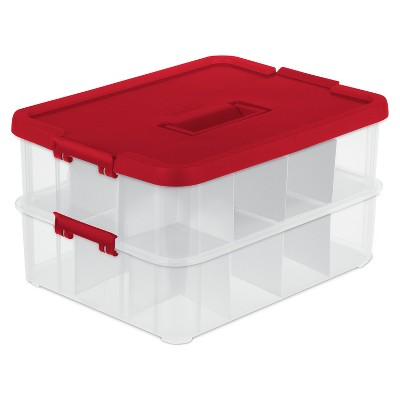 Sterilite 2 Layer Stack & Carry Ornament Box - Clear with Red Lid and Latches