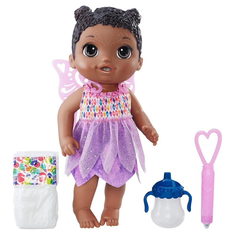 Baby Alive Face Paint Fairy - African American Imagine fantastic fairy tales with the Baby Alive Face Paint Fairy doll. . . because girls and boys can simulate painting her face to look like a fairy! Fill her wand with ice cold water and drag it along her face like a paint brush to reveal a beautiful design- it looks like face paint! Wipe her face with a warm hand and her face paint magically disappears to repeat the reveal play again and again. She drinks her bottle- fill it up with water to feed her. After her bottle, she wets! Mommies and daddies can clean her up and change her diaper. Her enchanting dress comes with detachable fairy wings for dress-up and fantasy play, making mommy and daddy moments with the Face Paint Fairy doll magical, too!Baby Alive and all related properties are trademarks of Hasbro.Includes 1 doll, 1 bottle, 1 diaper, 1 set of wings, 1 wand, and 1 removable outfit. Gender: Unisex.
