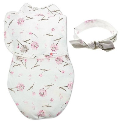 embé Starter Swaddle Original and Bow Headband Bundle - Clustered Flower