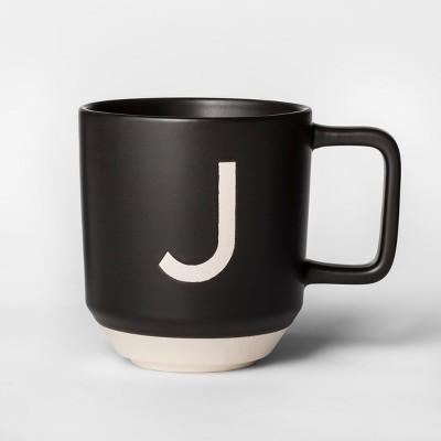 16oz Monogram Stoneware Mug Black/White J - Project 62™