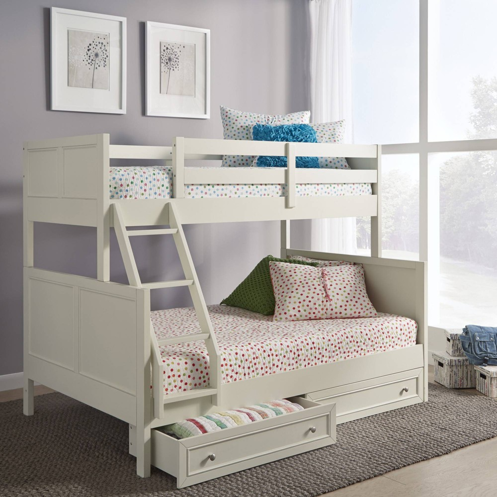 Twin Over Full Naples Bunk bed with Storage Drawers Off-White (Beige) - Home Styles