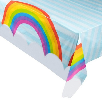 """Juvale 3-Pack Rainbow Unicorn Disposable Plastic Table Cover Tablecloth 54x108"""" Party Supplies"""