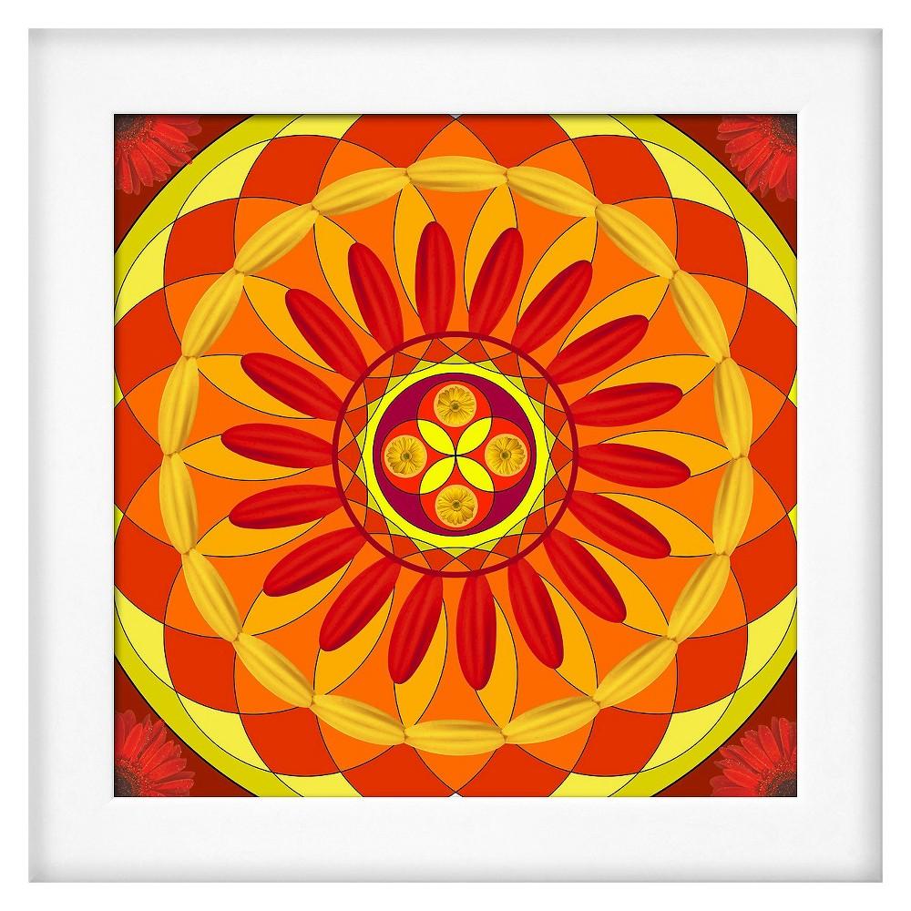 Art.com Framed Wall Poster Print Floral Mandala Drawing Sacred Circle - Sizzling Orange