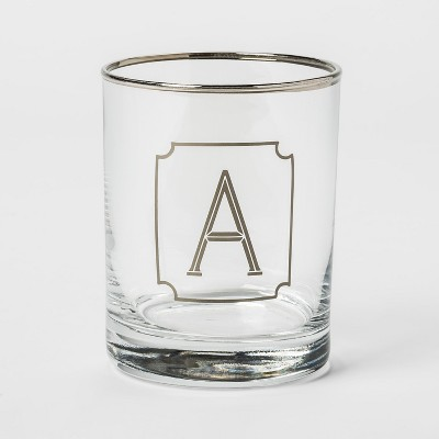 13.3oz Monogram Double Old-Fashioned Glass A - Threshold™