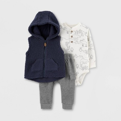 Baby Boys' 3pc Sherpa Vest Top & Bottom Set - Just One You® made by carter's Navy/Gray 3M