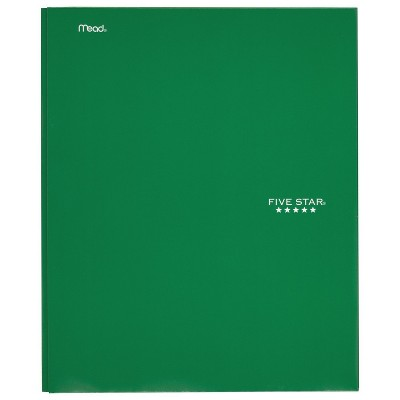 five star paper folder with prongs 2 pocket green target