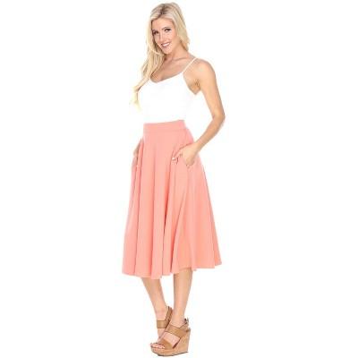 Women's Flared Midi Skirt with Pockets - White Mark