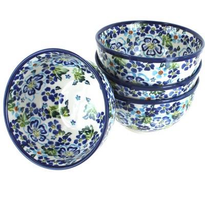 Blue Rose Polish Pottery Vintage Violet Dessert Bowl Set