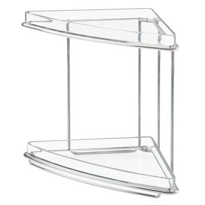 mDesign Metal Bathroom Vanity Corner Storage Caddy, 2 Shelves