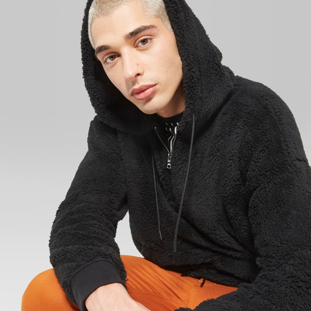 Men's Long Sleeve Teddy Bear 1/2 Zip Sherpa Hooded Sweatshirt - Original Use Black S