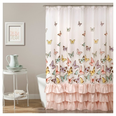 Flutter Butterfly Shower Curtain Pink