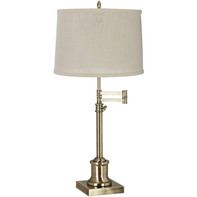 360 Lighting Traditional Swing Arm Desk Table Lamp Adjustable Height Antique Brass Cream Burlap Drum Shade for Living Room Bedroom