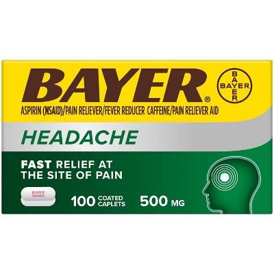 Bayer Headache Aspirin 500mg Coated Pain Reliever with Caffeine Tablets (NSAID) - 100ct
