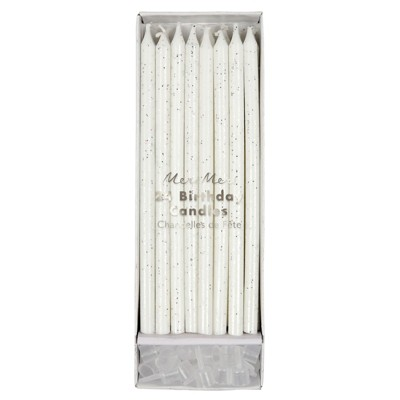 Meri Meri - Silver Glitter Candles - Cake Candles - 24ct