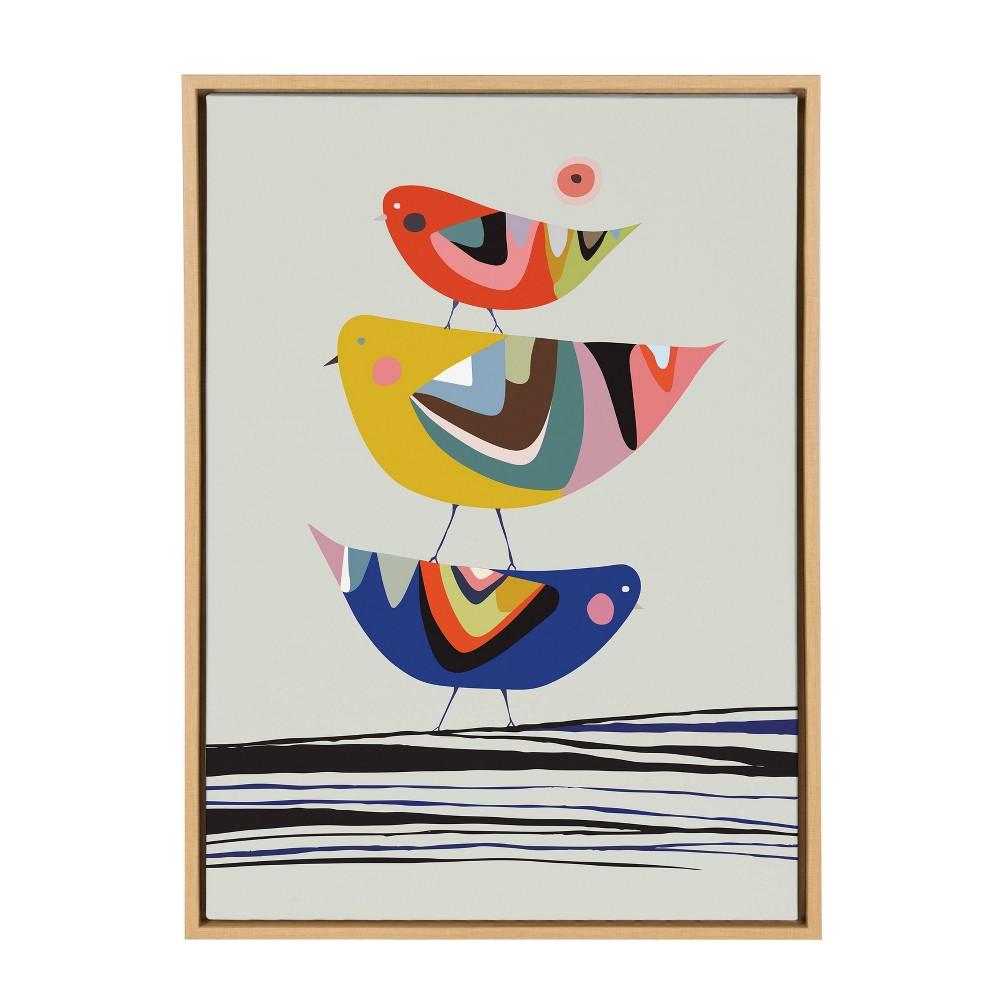 "Image of ""23""""x33"""" Slyvie Birds Framed Canvas By Rachel Lee Natural - Kate and Laurel"""